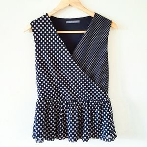 Suzy Shier Polka Dots Blouse Peplum Top